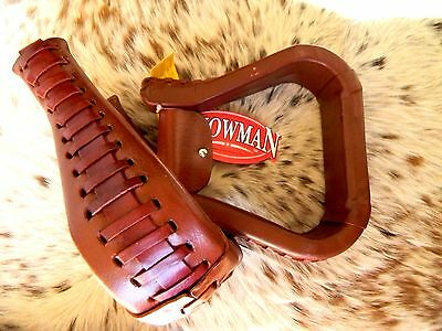 Brown Leather Pair of Western Saddle Replacement Stirrups NEW Horse Tack
