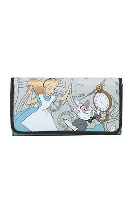 Disney Alice In Wonderland Clocks White Rabbit Trifold Flap Wallet New With Tags