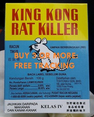 *100g* KING KONG POISON BAIT RODENT RAT MOUSE KILLER *with TRACKING NUMBER*