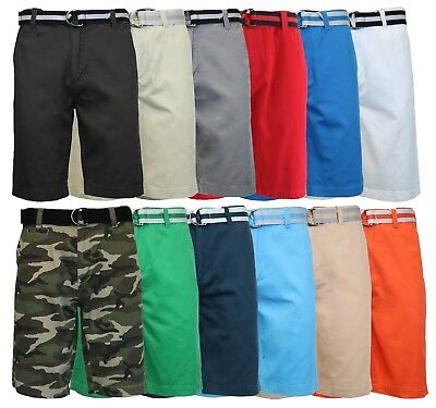 Men's 100% Cotton Twill Flat Shorts Includes Belt Perfect for Camping and Hiking