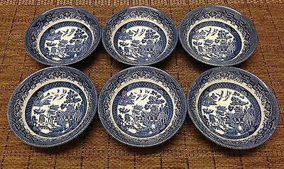 Churchill England Willow Pattern Blue and White Set of 6 Cereal/ Dessert Bowls