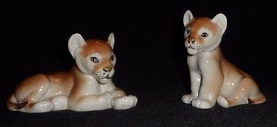 Lomonosov USSR Baby Lion Cubs Porcelain Figurines Lot