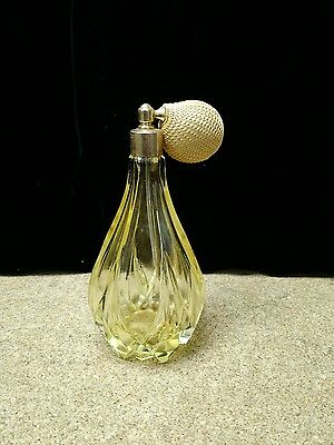 "Antique Atomizer Perfume Bottle ""Sunny Yellow"" Glass , crystal beautiful"