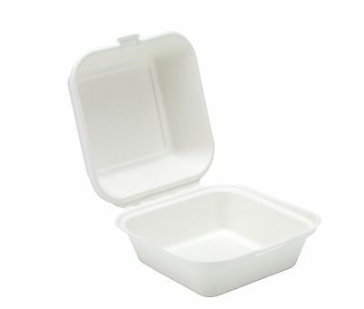"""125 x White 6"""" Paper Burger Box Containers - Biodegradable Bagasse Sugarcane"""