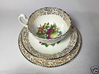 Beautiful Vintage Bone China England - Cup, Saucer & Side Plate - Fruit/Berries