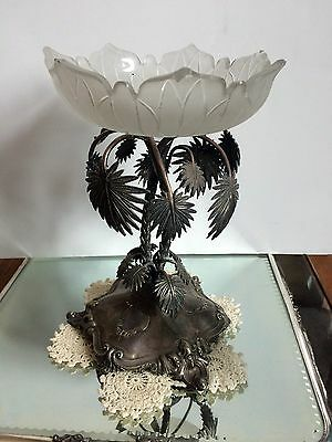 Antique Elkington Figural Palm Trees Silver P Epergne Centerpiece Brides Basket