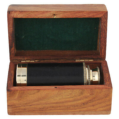 Maritime brass telescope with wooden box. Nautical Decor and Gifting.