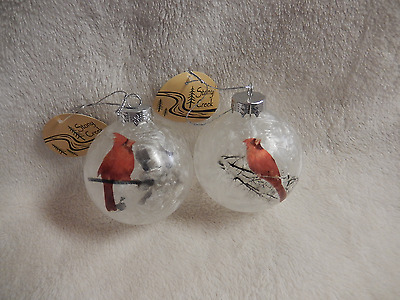 Christmas Stony Creek Cardinal Set Of Two On Round Glass Orns-New