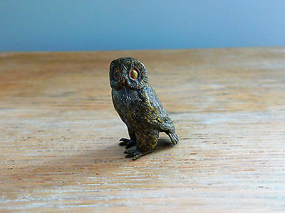 Collectible Miniature Metal Pearched Owl Figurine Wild Bird