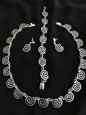 Price Reduced To Sell! Enamel Taxco Silver Necklace  Heavy