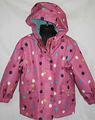 Girls Joules Pink Polka Dot Waterproof Fleece Lined Jacket Sz 5 5Y