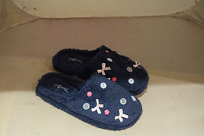 Ladies Womens Navy Cosies Slippers Mules Slip Ons New Size 6 (Eu39)