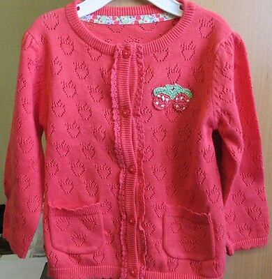 Baby Girl Red Strawberry Cardigan, 9-12 months, New