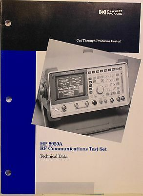 Vintage HP 8920A RF Communications Test Set - Technical Data