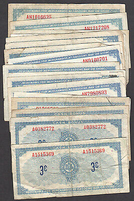 Canadian-Tire-Money - 16 x 3¢ notes - A1515369 plus 15 more - Discontinued
