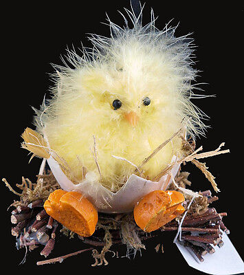 Large Fluffy Easter Chick Ornament In Egg On Twigs Decoration (Yellow)