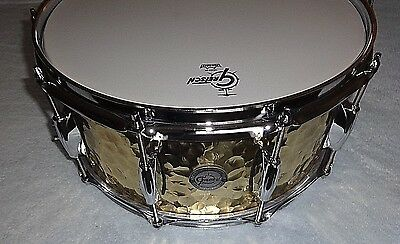 "Gretsch Hammered Brass Snare: 6.5 x 14"", new, unplayed, flawless"