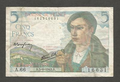 France 5 Francs 1943; F; P-98; Shepherd; WWII issue
