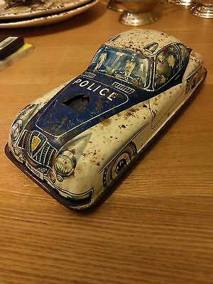 Tin plate, vintage friction Police car, Mettoy ?