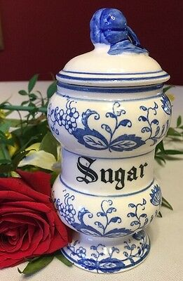 """Vintage SUGAR Canister w/Lid Blue Danube Onion Pattern Japan China 5.5"""""""