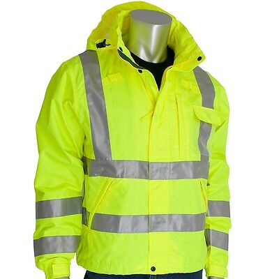Class 3 Rain Jacket, W/B PU Ctd, D-ring,Zip Cl Hd 2in Tape, LY 353-2000-LY-3XL