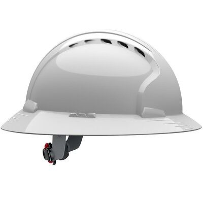JSP Hard Hat Vented Full Brim White with 6 Point Ratchet Suspension