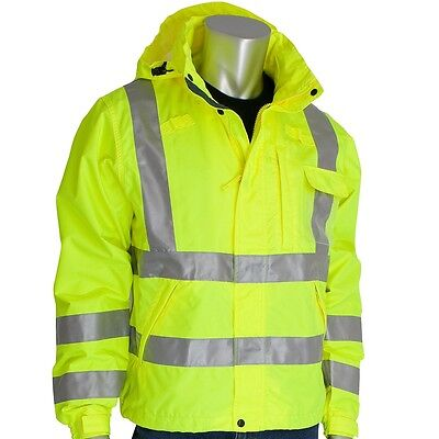 Class 3 Rain Jacket, W/B PU Ctd, D-ring,Zip Cl Hd 2in Tape, LY 353-2000-LY-M