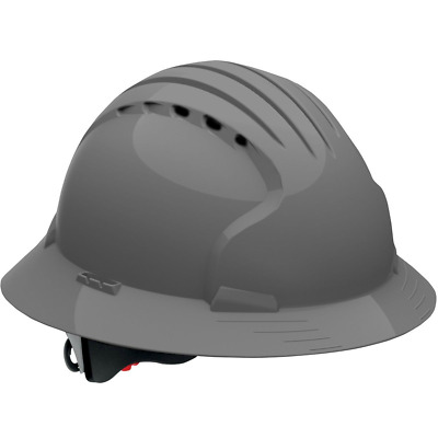 JSP Vented Full Brim Hard Hat with 6 Point Ratchet Suspension, Gray