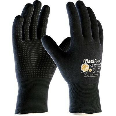MaxiFlex Knit Nylon Lycra Work Gloves with Nitrile Coated Grip, Large