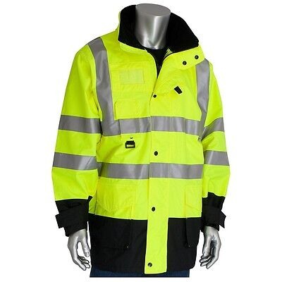 Class 3 Coat 7in1, Insulated Inner Jacket, Zip Cl Hd, LY - 343-1756-YEL-2XL
