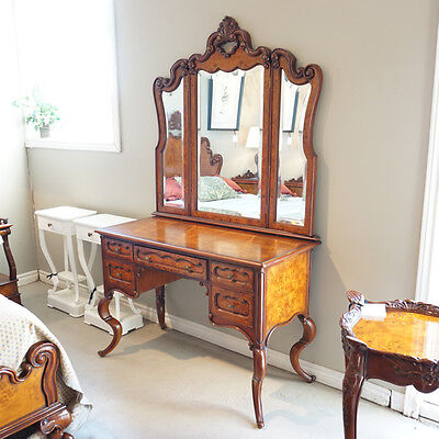 Beautiful Mahogany and Burl Vanity with Mirror hand carved