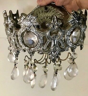 Sconces with Crystals-Pair Mid Century/Art Deco Rare-On off Switch-Rewired