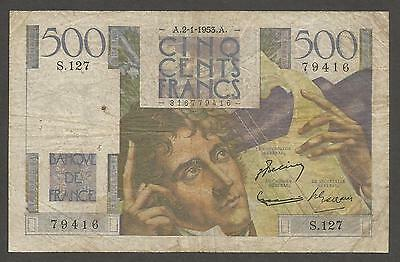 France 500 Francs 1953; VG+; P-129; Chateaubriand; Musical instrument