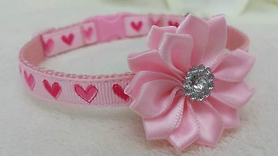 'Cutie Pie' Pretty Pink Heart,Puppy,Dog,Chihuahua Collar.5 sizes