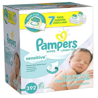 Pampers Sensitive 7X Fitment Baby Wipes 392 Count