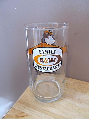 Vintage A & W Root Beer Family Restaurant Collectible Drinking Glass~Rooty Bear