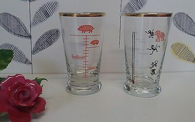 A Pair Of  Vintage Novelty Cocktail Shot Glasses Measures Pig/Monkey Animal 50's