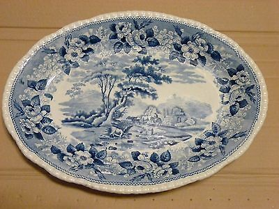 Large Blue & White Adams Cattle Scenery Ironstone Plate Fair Condition
