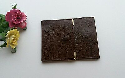 Vintage Brown Leather Folding Cheque Book Cover