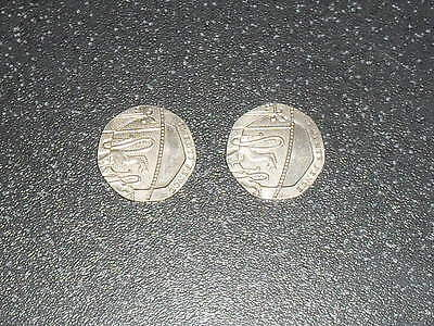2 Genuine Rare Undated 20p Coin Royal Mint Error Coin no date 20 pence mule