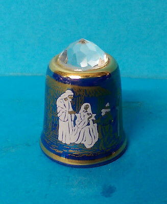 Sutherland Blue Lustre Crystal Topped Nativity Thimble The Three Kings Visit