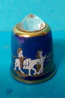 Sutherland Blue Lustre Crystal Topped Nativity Thimble Flight to Egypt