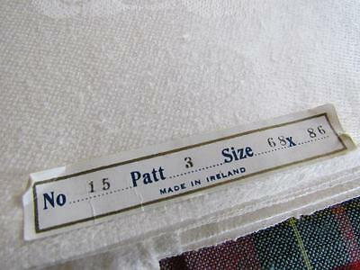 "Antique Vtg MADE IN IRELAND Irish Linen Damask TABLECLOTH 68x86"" ORIG LABEL"