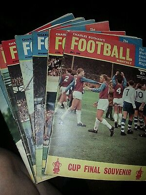 8 x CHARLES BUCHAN FOOTBALL MAGAZINES FROM THE 1960s VG CONDITION FOR AGE.