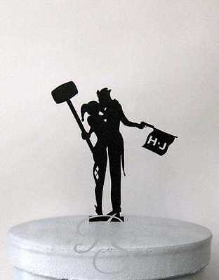 Personalized Wedding Cake Topper - Joker and Harley Quinn silhouette with person