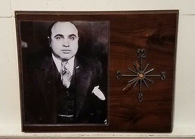 Al Capone Mob Boss Gangster Wood Plaque Clock ~ Scarface ~ RARE ~ As Is