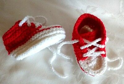 Hand Knit Crocheted Baby's red/ White Booties Sneakers Style 3-6 Months NEW