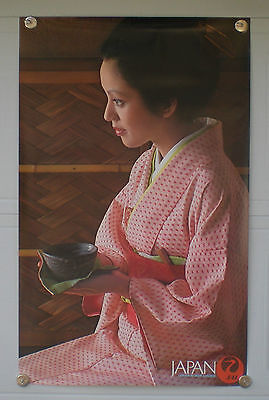 ORIGINAL 1960's JAPAN AIRLINES TRAVEL POSTER WOMAN GEISHA WEARING KIMONO JAL