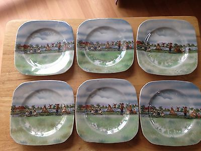 6 Tea Plates With Dutch / Windmill Scenes