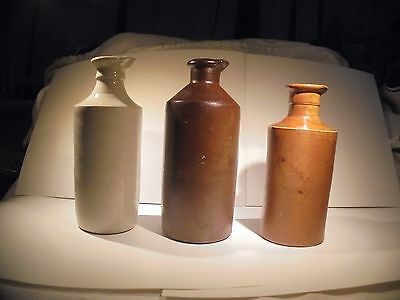 3x Vintage Victorian Pouring Inks Bottles. Stoneware Earthenware display